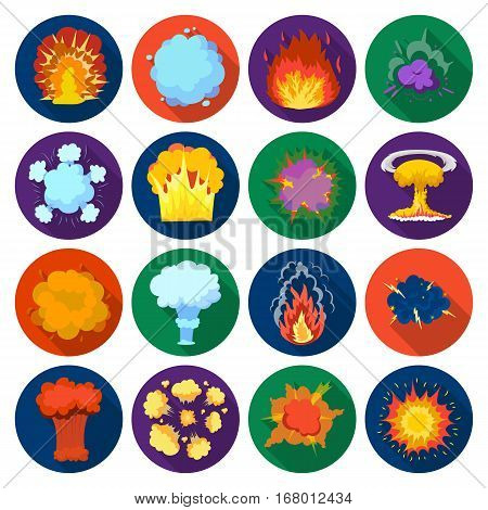 Explosions set icons in flat design. Big collection of explosions vector symbol stock illustration
