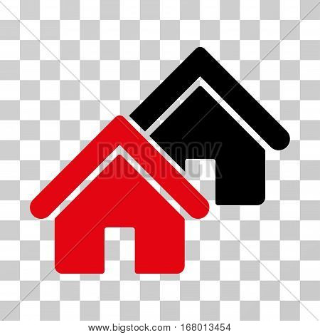 Realty icon. Vector illustration style is flat iconic bicolor symbol, intensive red and black colors, transparent background. Designed for web and software interfaces.