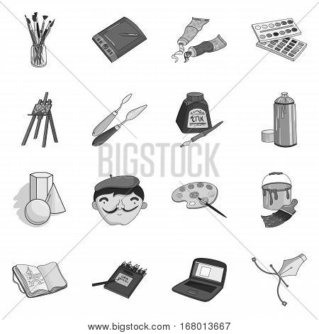 Artist and drawing set icons in monochrome design. Big collection of artist and drawing vector symbol stock illustration