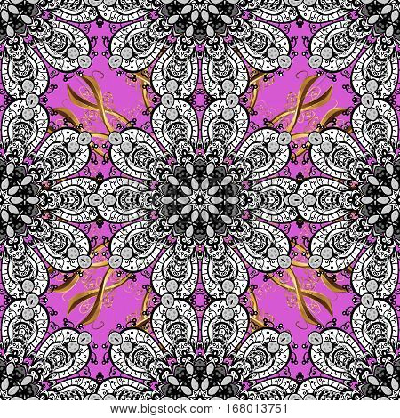 Seamless vintage pattern on dark pink and lilac background with golden elements. Petals white.