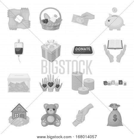 Charity and donation set icons in monochrome design. Big collection of charity and donation vector symbol stock illustration