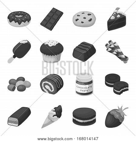 Chocolate desserts set icons in monochrome design. Big collection of chocolate desserts vector symbol stock illustration