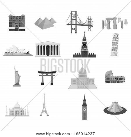 Countries set icons in monochrome design. Big collection of countries vector symbol stock illustration