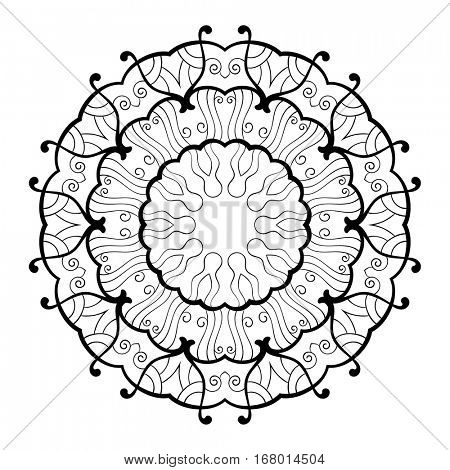Round ornamental mandala for coloring book, Isolated design element, Vector illustration