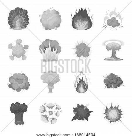 Explosions set icons in monochrome design. Big collection of explosions vector symbol stock illustration