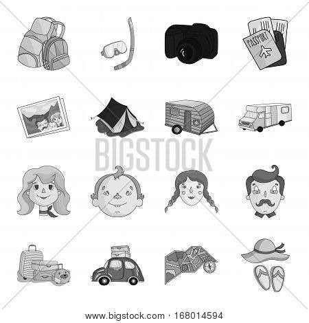 Family holiday set icons in monochrome design. Big collection of family holiday vector symbol stock illustration