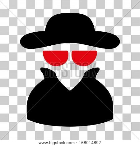 Spy icon. Vector illustration style is flat iconic bicolor symbol, intensive red and black colors, transparent background. Designed for web and software interfaces.