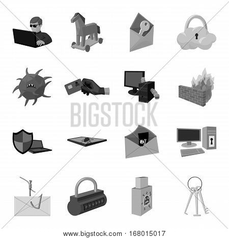 Hackers and hacking set icons in monochrome design. Big collection of hackers and hacking vector symbol stock illustration