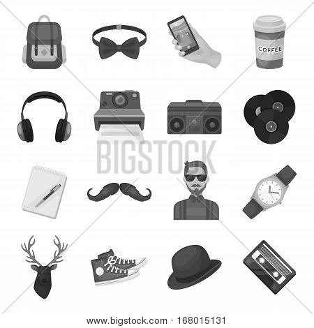 Hipster style set icons in monochrome design. Big collection of hipster style vector symbol stock illustration