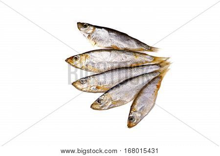 The Azov Sprat (whitebait) Are Small Fish Salted Lies On A White Background, Not Isolated.