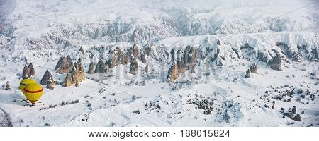 Cappadocia snowy aerial view during winter