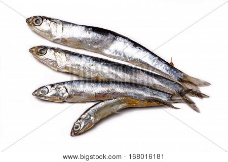 Anchovy From The Black Sea - Salted Small Fish Lying On A White Background, Not Isolated.