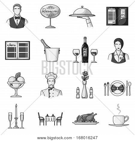 Restaurant set icons in monochrome design. Big collection of restaurant vector symbol stock illustration