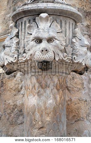 DUBROVNIK, CROATIA - DECEMBER 01: Old medieval street statue fountain in Dubrovnik, Croatia on December 01, 2015.