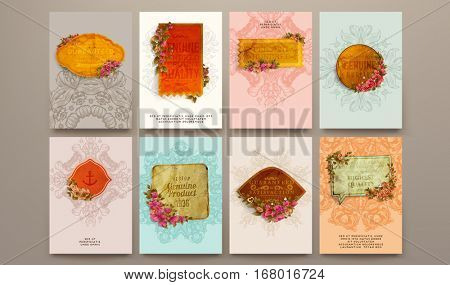 wedding invitation card or Valentines day designs set with vintage ornamental elements, borders, dividers, headers and frame templates. Retro flowers