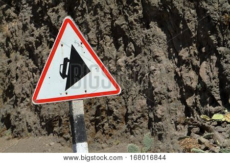 a crazy uphill Traffic sign in Ethiopia