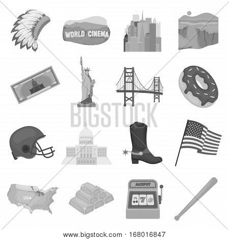 USA country set icons in monochrome design. Big collection of USA country vector symbol stock illustration