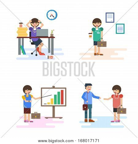 Vector flat four concept business lady - work office situations. Tired of stress at workplace and happy during working. She shows company success on the growth chart. Communicate with customer