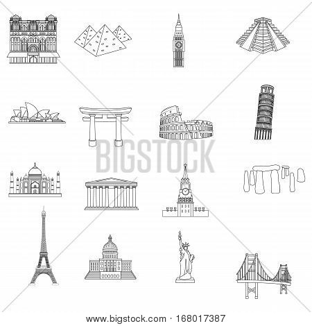 Countries set icons in outline design. Big collection of countries vector symbol stock illustration