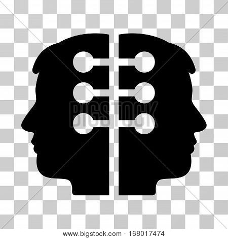 Dual Head Interface icon. Vector illustration style is flat iconic symbol, black color, transparent background. Designed for web and software interfaces.