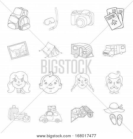 Family holiday set icons in outline design. Big collection of family holiday vector symbol stock illustration