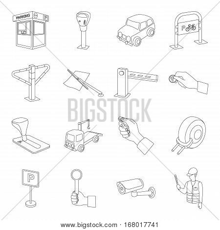 Parking zone set icons in outline design. Big collection of parking zone vector symbol stock illustrationCar