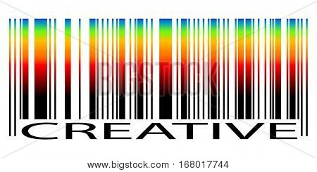 Bar Code with colored gradient and text Creative isolated on white background. Vector illustration.