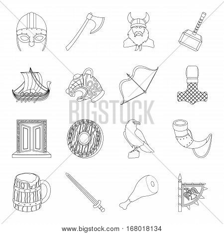Vikings set icons in outline design. Big collection of vikings vector symbol stock illustration