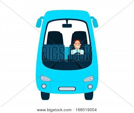 Bus driver isolated on a white background. Flat design. Vector illustration