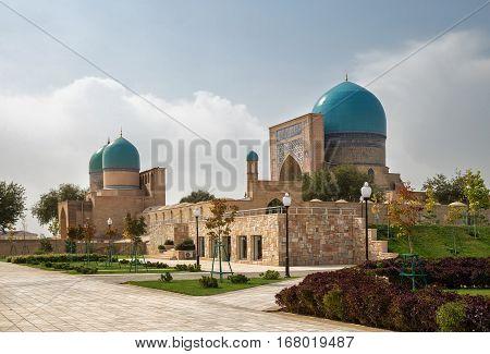 Ancient complex Dorut Tilavat XIV-XV century and new park around it. Shakhrisabz Uzbekistan.