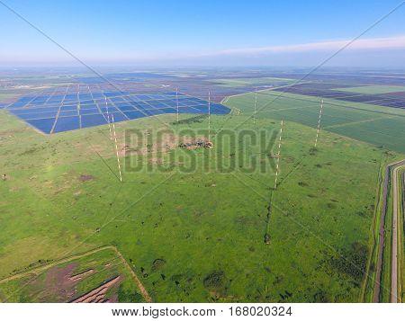 Masts Longwave Antennas Communication Among The Rice Fields Floo