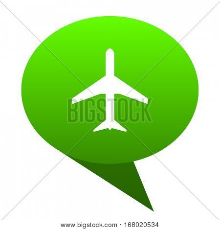 Plane green bubble web icon