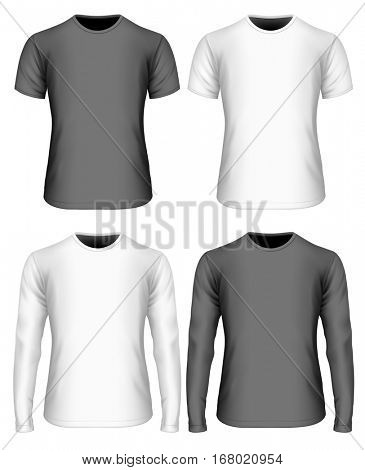 Men's t-shirt (front view). White and black variants of t shirt. Long-sleeved and short-sleeved variants of t-shirt. Fully editable handmade mesh. Vector illustration.