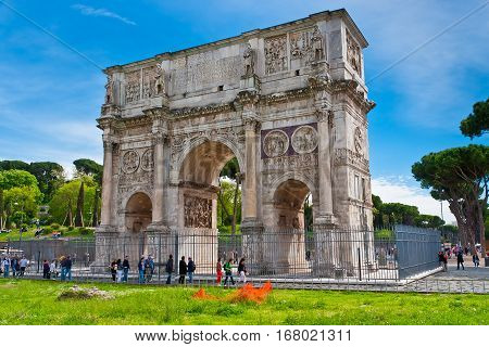 The Triumphal Arch of Constantine in Rome Italy. Arch is located near  Coloseum. It was built in the year 315 and is dedicated to the victory of Constantine over Maxentius.