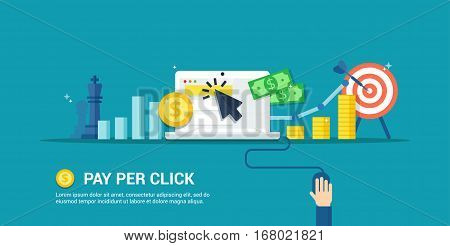 Pay Per Click vector illustration. Internet advertising process - abstract banner in flat style. Concept of strategy, analytics, successful result and profit growth.