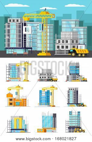 Orthogonal concept with construction work site and set of icons of building houses isolated vector illustration
