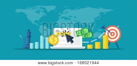 Internet advertising vector banner. Online advertising campaign - abstract illustration in flat style. Concept of strategy, e-commerce, successful result and profit growth.