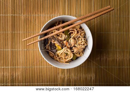 Dried Chinese Noodles With Meat In The Dish