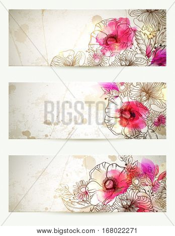 Hand drawn floral vintage illustrations. Set of three backgrounds with flowers branch and poppies. Abstract watercolor blots.