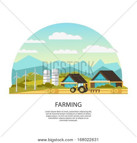 Modern farming template with houses field tractor granary hay windmills and beautiful landscape vector illustration