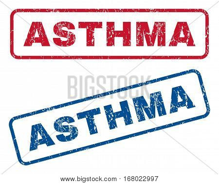 Asthma text rubber seal stamp watermarks. Vector style is blue and red ink tag inside rounded rectangular banner. Grunge design and dust texture. Blue and red stickers.