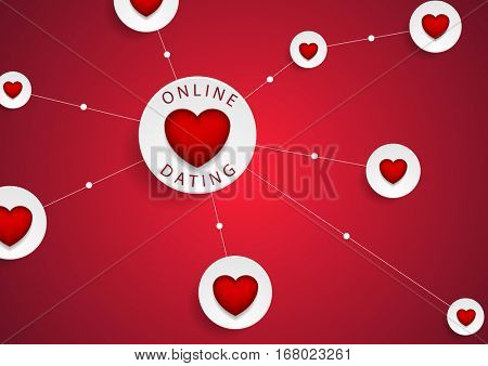 Online dating communication with red hearts vector background