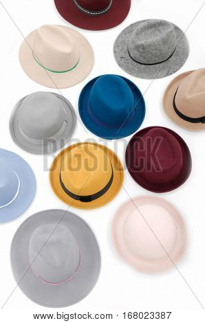 many woman hat on white background