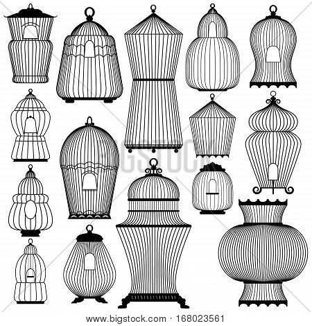 Set of decorative black bird cage Silhouettes isolated on white background.