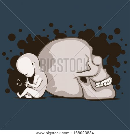 Newborn child plays on a flute nearby the giant human skull