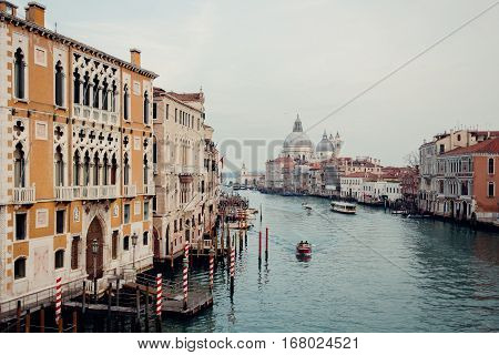 A view at the streets and water of Venice from the Accademia Bridge in Italy