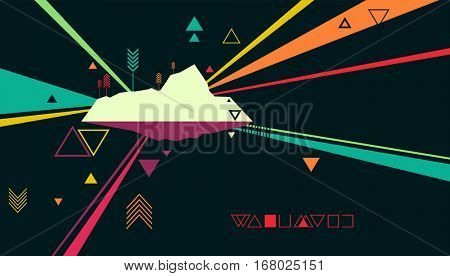 Abstract Background Illustration Featuring the Outline of an Island Framed by Colorful Streaks of Light