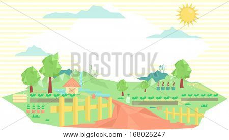 Geometric Illustration of the Countryside Featuring  a Dirt Road Leading to a Farm