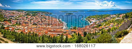 Island Of Hvar Bay Aerial Panoramic View