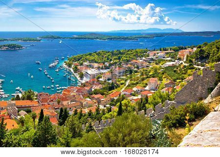 Amazing Historic Town Of Hvar Aerial View